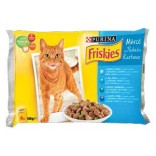 Friskies Cat Adult Multipack cu cod, pastrav si fasole 4x100g